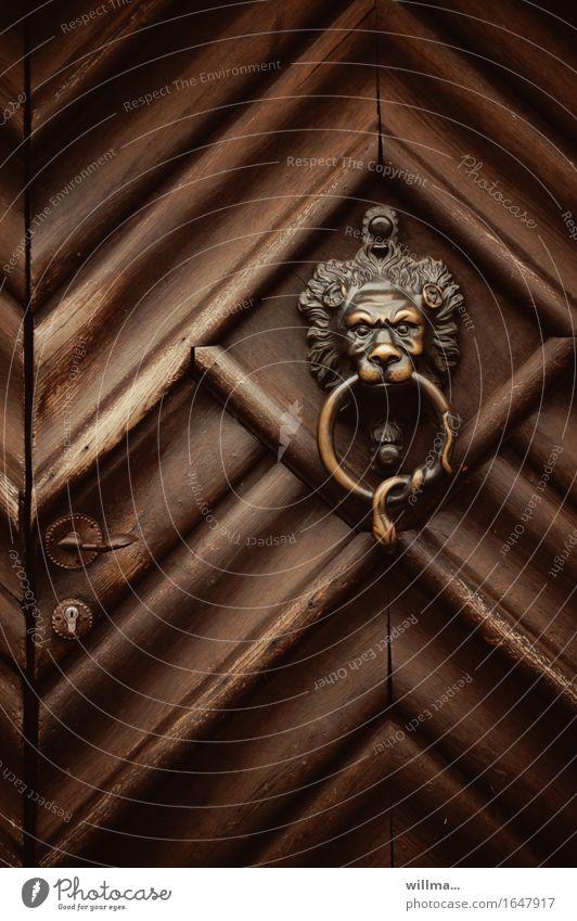 das is der klopper! Häusliches Leben Tür Eingangstür Türklopfer Holz braun Löwenkopf Messing Schloss Dekoration & Verzierung rustikal geschlossen Griff Farbfoto