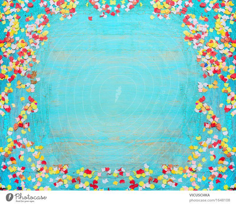 Party Hintergrund mit Konfetti. Türkisblau Stil Design Freude Sommer Veranstaltung Feste & Feiern Holz Zeichen Ornament gelb Ferien & Urlaub & Reisen schick