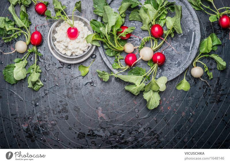 Frische saftige Radieschen mit Frischkäse Natur Sommer Gesunde Ernährung Blatt Leben Essen Foodfotografie Stil Lebensmittel Design Tisch Küche Gemüse