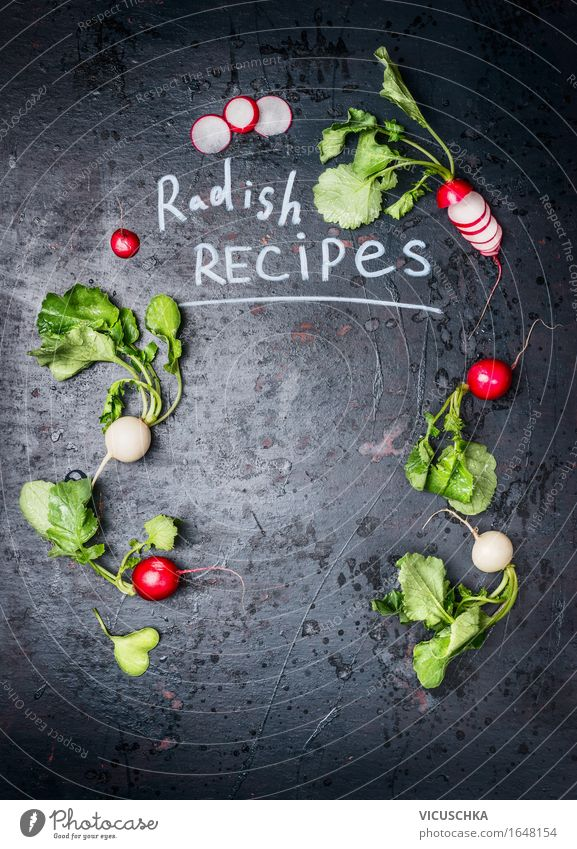 Hintergrund für Radieschen Rezepte Natur Sommer Gesunde Ernährung dunkel Leben Hintergrundbild Stil Garten Lebensmittel Design Ernährung Tisch Kochen & Garen & Backen Zeichen Küche Gemüse