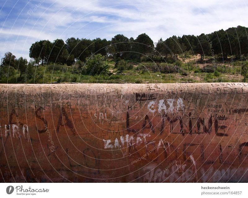 Narrenhände Natur Baum Wald Hügel Bauwerk Mauer Wand Stein Schriftzeichen Graffiti alt Wärme braun rot Marokko Trennwand Trennung Information Buchstaben