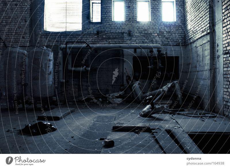 Restposten Leben Fenster Wand Mauer Traurigkeit träumen Zeit Zukunft planen Hoffnung Wandel & Veränderung Technik & Technologie Vergänglichkeit Schutz Fabrik Sehnsucht
