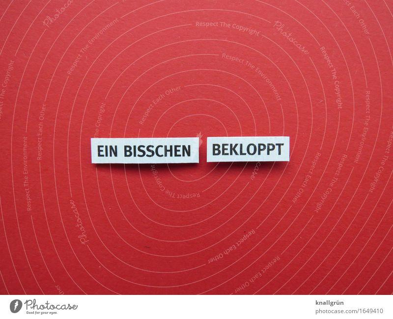 EIN BISSCHEN BEKLOPPT Schriftzeichen Schilder & Markierungen Kommunizieren eckig rot schwarz weiß Gefühle dumm Farbfoto Studioaufnahme Menschenleer