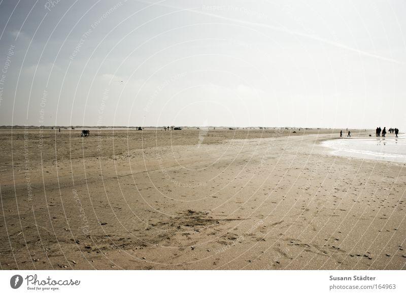 Meeresrauschen Mensch Wasser Ferien & Urlaub & Reisen Strand ruhig Ferne Erholung kalt Spielen Sand Küste Luft Horizont Wellen Zufriedenheit Freizeit & Hobby