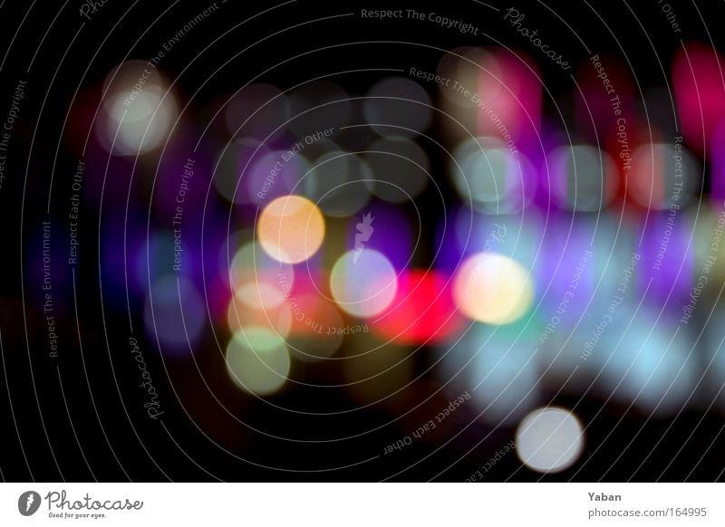 Bright Lights, Big City rot gelb Straße Bewegung hell rosa glänzend modern Verkehr Energiewirtschaft rund fahren Güterverkehr & Logistik violett Nacht Verkehrszeichen
