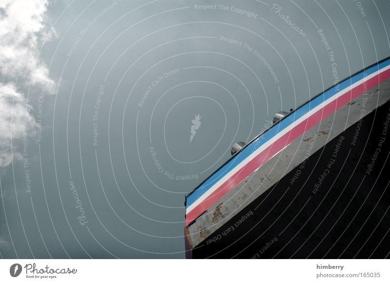 backpack alt Himmel blau rot schwarz Wolken Bewegung Wasserfahrzeug Design Industrie Zukunft Güterverkehr & Logistik einfach Streifen fest Rauch