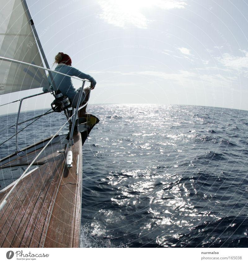Richtung Süden Mensch Natur Ferien & Urlaub & Reisen Jugendliche Wasser Sommer Meer Erholung Freude 18-30 Jahre Erwachsene feminin Küste Wasserfahrzeug Freiheit Wellen