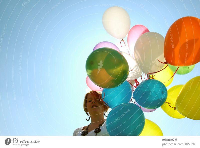 Neulich auf'm Rummel. Frau Sonne schön Freude Party Stil Wärme Feste & Feiern Kunst fliegen verrückt frisch Hoffnung modern Luftballon