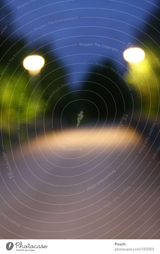 Erleuchtend Natur blau grün schön Baum gelb Wege & Pfade Park Brücke Wandel & Veränderung Straßenbeleuchtung Nachthimmel