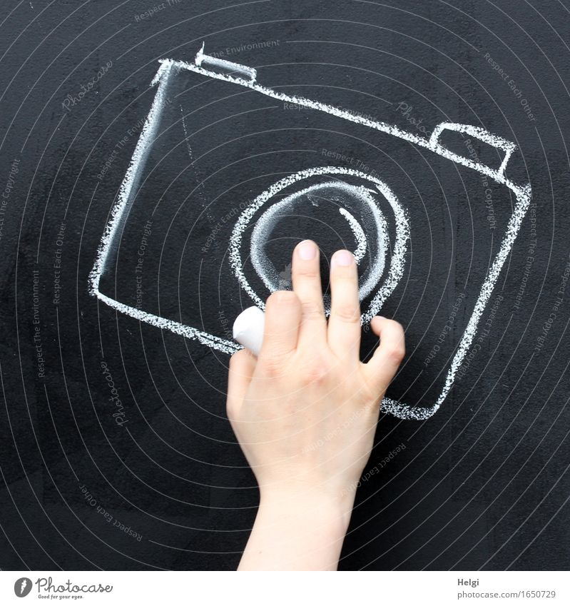 Handarbeit Mensch feminin Erwachsene Finger Dekoration & Verzierung Kreide Fotokamera Zeichnung Tafel außergewöhnlich einzigartig rosa schwarz weiß Freude