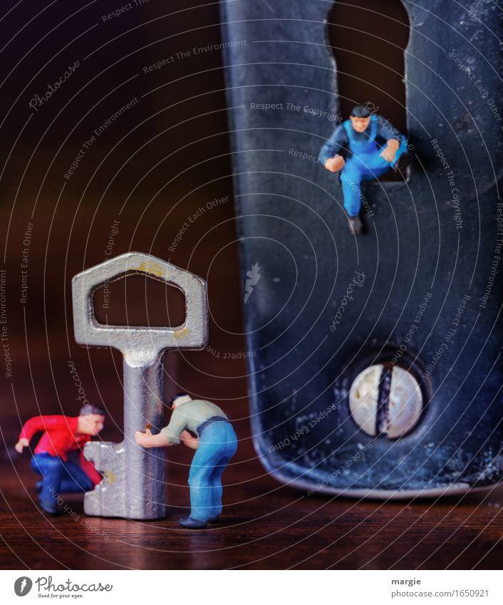 Miniwelten - Der Austeiger Mensch Mann blau Erwachsene braun Arbeit & Erwerbstätigkeit maskulin Technik & Technologie Baustelle Sicherheit Team Beruf Handwerk