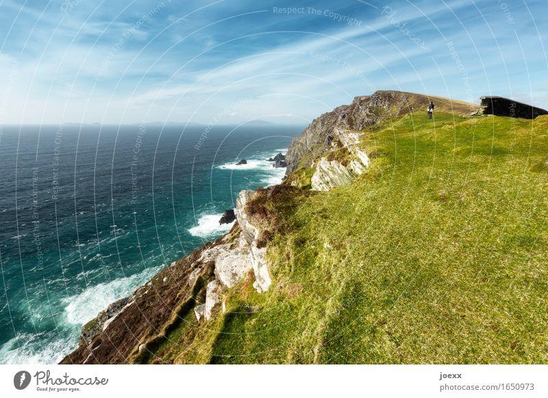 Die einzige, die fehlt Ferne Freiheit Meer Insel wandern 1 Mensch Natur Schönes Wetter Wiese Felsen Wellen Küste Irland Valentia Island gehen genießen groß hoch