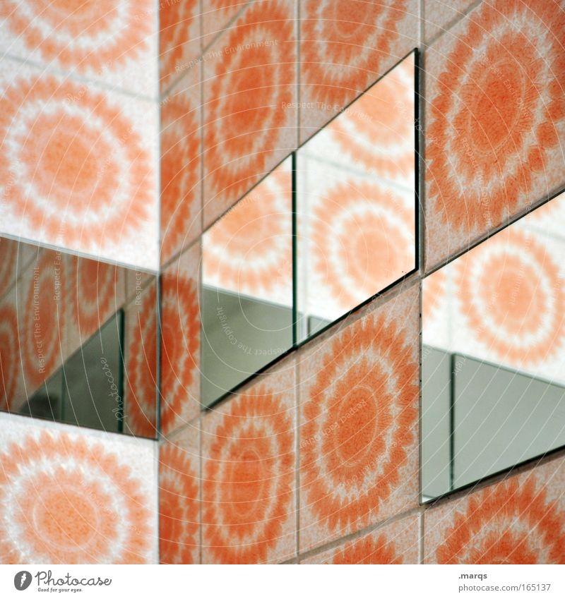 Vielseitig Farbe Wand Mauer Stil Linie Innenarchitektur orange Wohnung außergewöhnlich Design Perspektive Häusliches Leben Ecke retro Bad Spiegel