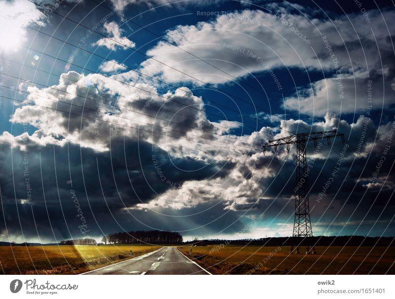 Weit im Osten Ferien & Urlaub & Reisen Ausflug Ferne Freiheit Energiewirtschaft Strommast Hochspannungsleitung Umwelt Natur Landschaft Himmel Wolken Horizont