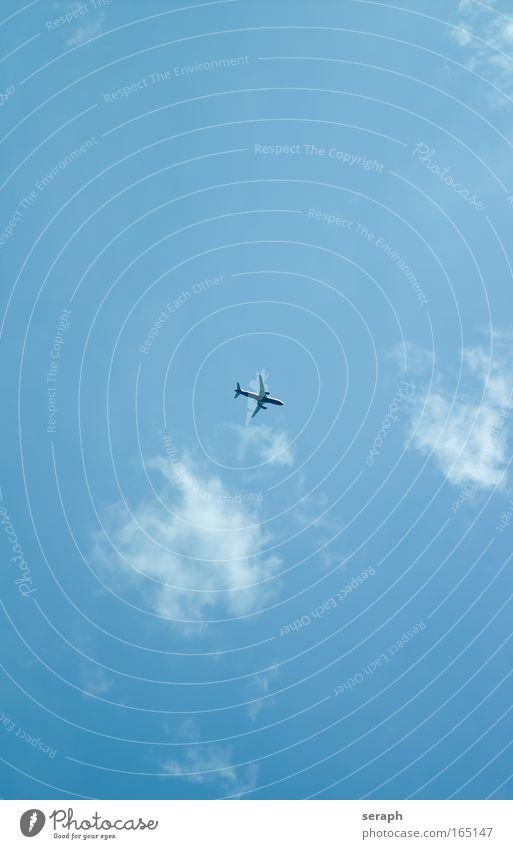 Urlaubsflieger Himmel blau Ferien & Urlaub & Reisen Wolken Ferne Freiheit Hintergrundbild Wetter Verkehr einfach Kumulus Passagierflugzeug