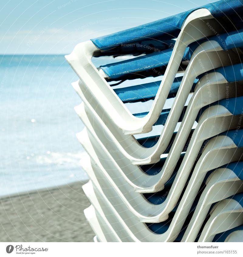 Sommeranfang Wasser Himmel Meer blau Sommer Strand Ferien & Urlaub & Reisen ruhig Ferne Erholung Glück Sand Zufriedenheit Stimmung Wellen