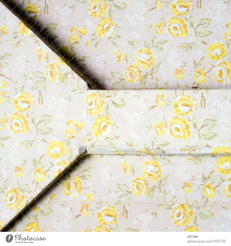 Gelbe Rosen am Kamin. alt Blume Einsamkeit dunkel gelb Wand Traurigkeit Architektur Innenarchitektur Mauer braun träumen Energiewirtschaft Raum dreckig