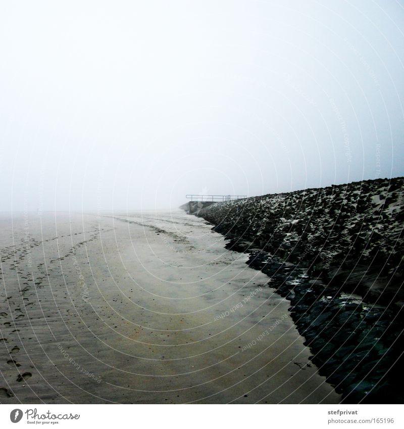 Grenzenlos Strand ruhig Einsamkeit Ferne dunkel kalt Erholung träumen Traurigkeit Sand Küste Nebel frei Horizont Insel