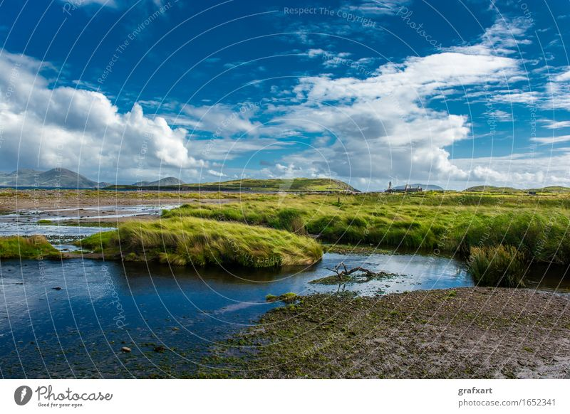 Küstenlandschaft in Irland Republik Irland Sumpf Bucht Landschaft malerisch Natur friedlich Gezeiten Gras Himmel Hügel Lagune ländlich Menschenleer
