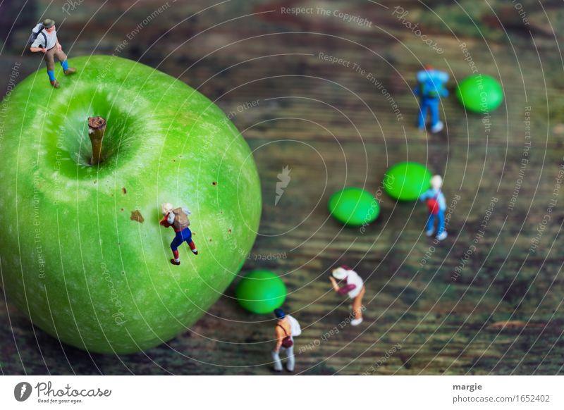 Miniaturwelten - Apfelbesteigung Mensch Frau Ferien & Urlaub & Reisen Mann grün Gesunde Ernährung Berge u. Gebirge Erwachsene feminin Gesundheit Lebensmittel