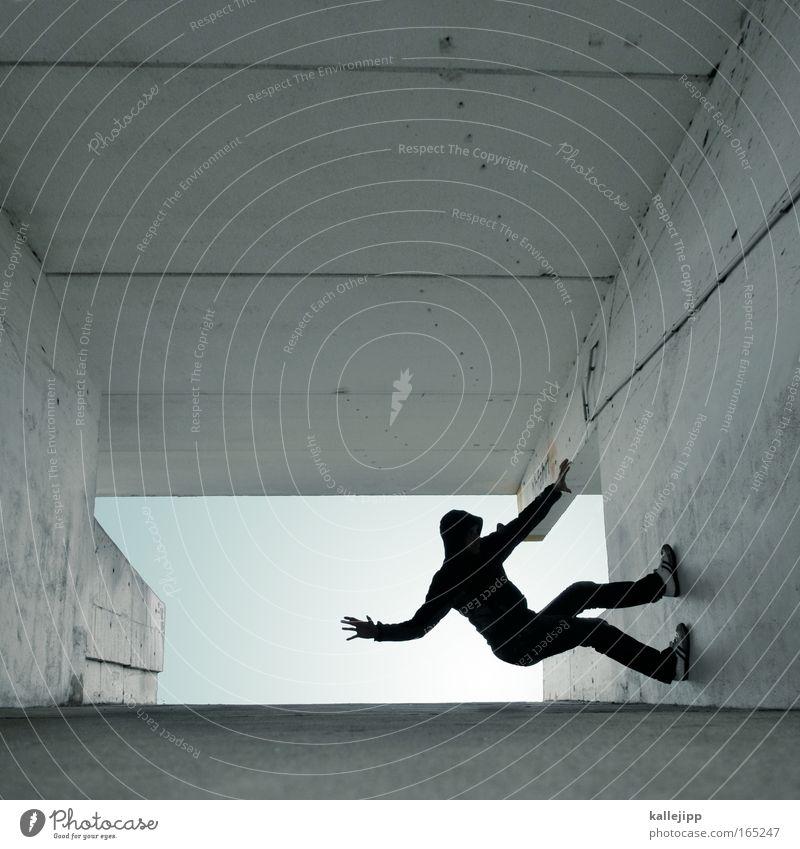 schranke Außenaufnahme Blick nach vorn Lifestyle Stil Freizeit & Hobby Spielen Fitness Klettern Bergsteigen 1 Mensch Erwachsene Jugendkultur fliegen springen