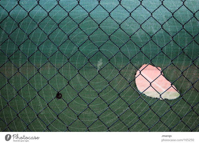 Voyeurismus Farbfoto Außenaufnahme Menschenleer Textfreiraum links Totale Freude Freizeit & Hobby Spielen Ballsport Sportstätten Sportveranstaltung Metall