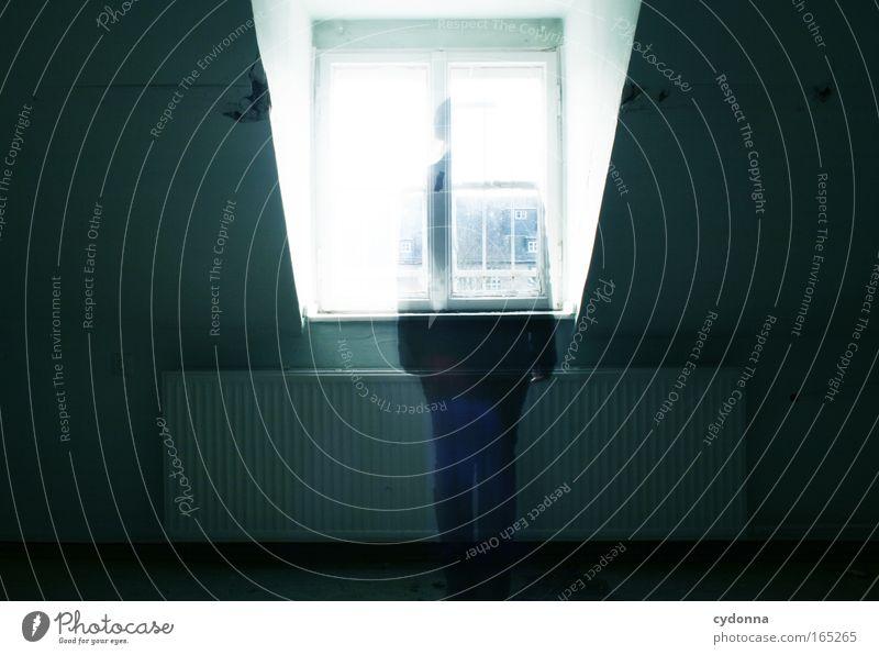 Geisterhaft Mensch Einsamkeit Ferne Leben Tod Fenster Wand Gefühle Bewegung Traurigkeit Mauer träumen Zeit Wohnung Hoffnung Kommunizieren
