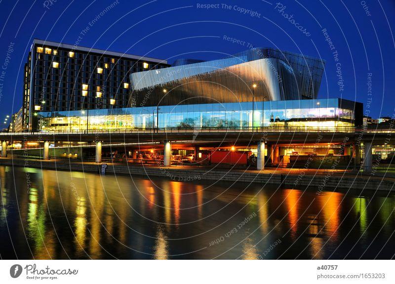 Stockholm Farbe Wolken schwarz Straße Gebäude Verkehr modern Völker Hotel Abenddämmerung Messe Schweden Färbung erbaut Stadshuset