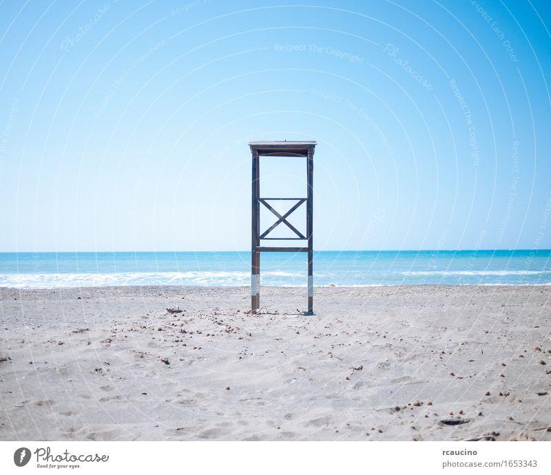 Rettungs-Turm am Strand Ferien & Urlaub & Reisen Sommer Sommerurlaub Wassersport Landschaft Meer Sand Schutz Wachsamkeit gewissenhaft Beratung Einsamkeit