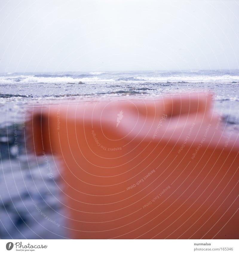 Red Box rot Strand ruhig Landschaft Herbst Sand träumen Horizont Nebel Fisch Kunststoff Ostsee Kasten Bikini atmen