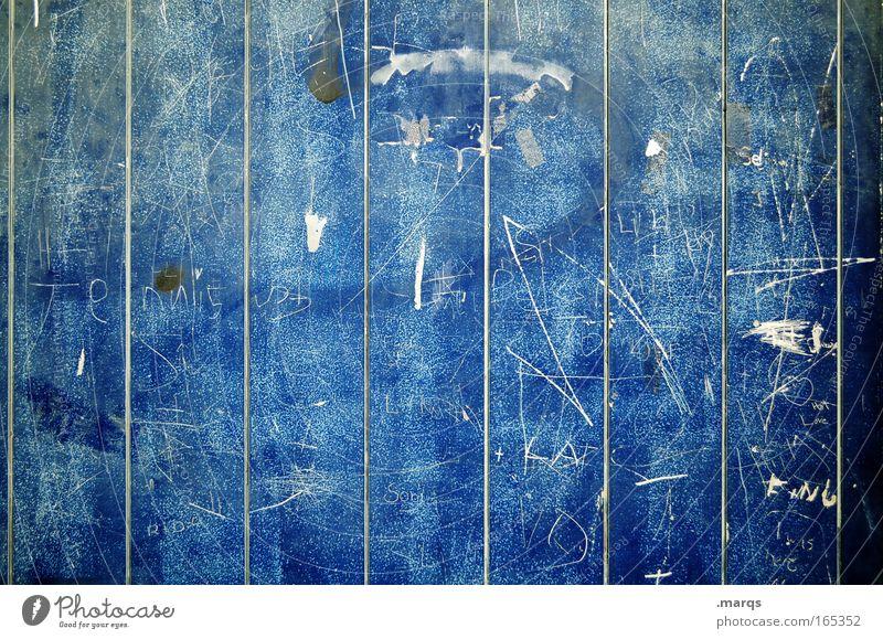 Scratch alt blau Freude Farbe Wand Graffiti Stil Mauer Metall Linie Freizeit & Hobby Hintergrundbild Fassade Design ästhetisch Schriftzeichen