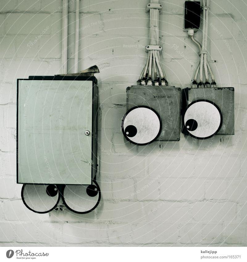 vorsicht hochspannung Freude Auge Liebe Graffiti sprechen Angst glänzend Elektrizität süß Kabel Technik & Technologie Straßenkunst Skulptur Comic Hilfesuchend