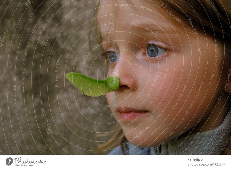 2300_ein kinderspiel Tag Spielen Mädchen Kindheit Leben Nase 1 Mensch 3-8 Jahre Umwelt Natur Pflanze Tier frisch nachhaltig natürlich Neugier niedlich grün