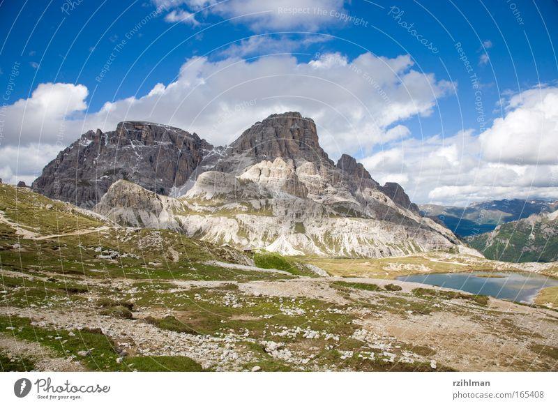 Bergszene Dolomiten Natur Himmel grün Sommer Freude Wolken Berge u. Gebirge See Landschaft wandern groß Felsen Erde Europa Italien Alpen