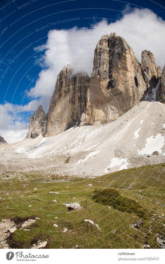 Die Drei Zinnen Himmel Natur Sommer Landschaft Wolken Berge u. Gebirge Bewegung Felsen Horizont Erde Italien Schönes Wetter Urelemente Turm Gipfel Hügel