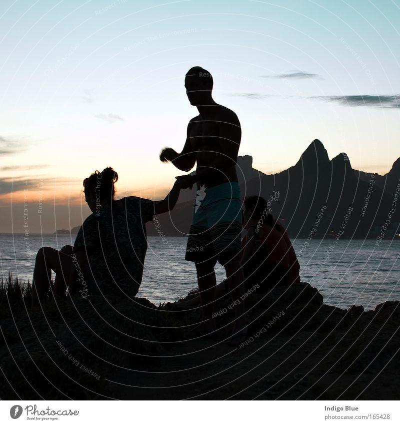 Mensch schön Meer Sommer Strand Ferien & Urlaub & Reisen Freiheit Paar Landschaft Freundschaft Stimmung Küste groß Horizont ästhetisch Romantik