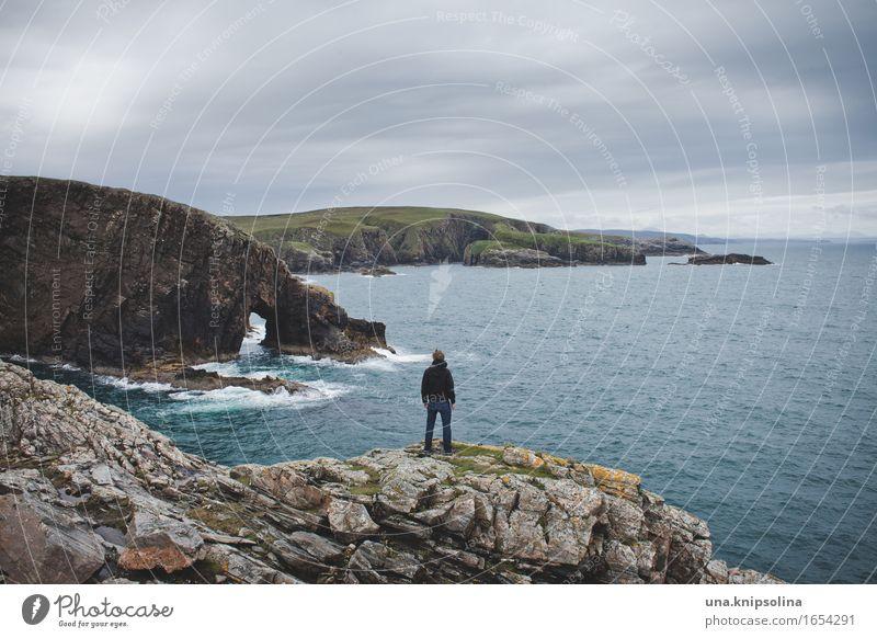 Strathy Point Mensch Natur Ferien & Urlaub & Reisen Meer Einsamkeit Wolken Ferne Küste Freiheit Tourismus Erde Felsen maskulin Wellen stehen Abenteuer