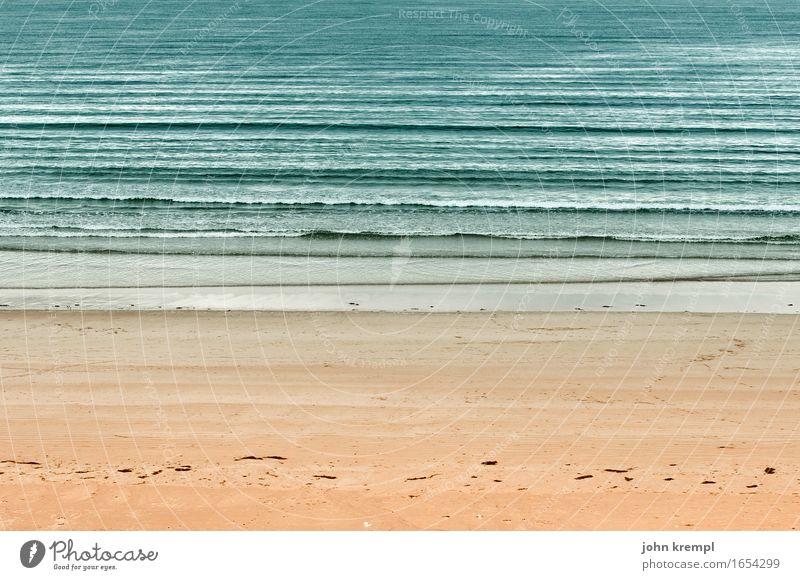 Strandverlauf Wellen Küste Nordsee Meer Sandstrand Schottland Freundlichkeit maritim Glück Zufriedenheit Lebensfreude Romantik Fernweh Einsamkeit Erholung