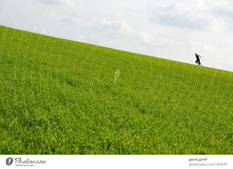 Der Rezession entgegen Mensch Himmel Natur Mann Sommer Sonne Wolken Erwachsene Landschaft Umwelt Wiese Gras Frühling Bewegung Park Freizeit & Hobby