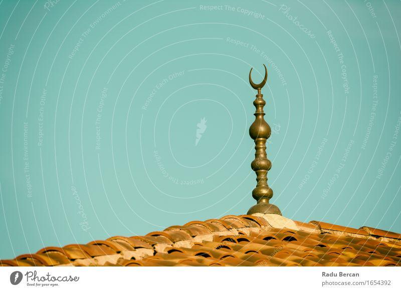 Islamische Religion Crescent Moon Zeichen auf Moschee Stadt blau schwarz Architektur Religion & Glaube Gebäude grau braun Kirche Kultur Dach Hoffnung Bauwerk