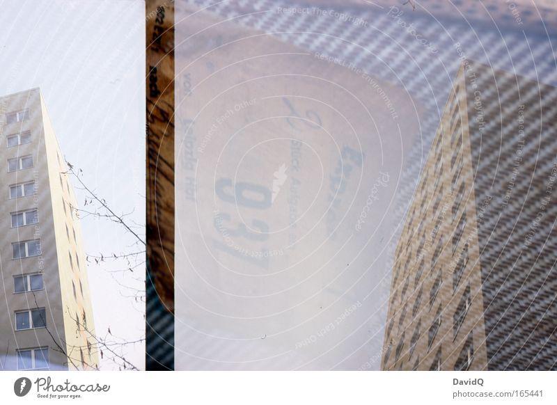2 Stück Expreß von Leipzig Hbf Stadt Haus Fenster Gebäude Hochhaus Stoff Bauwerk Koffer Doppelbelichtung Wohnhochhaus
