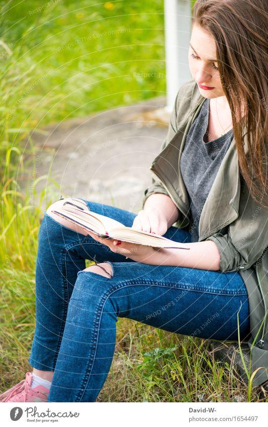 ein schönes Hobbie Mensch Natur Jugendliche Junge Frau Mädchen Erwachsene Leben feminin Schule Erfolg Buch lernen Studium lesen Bildung