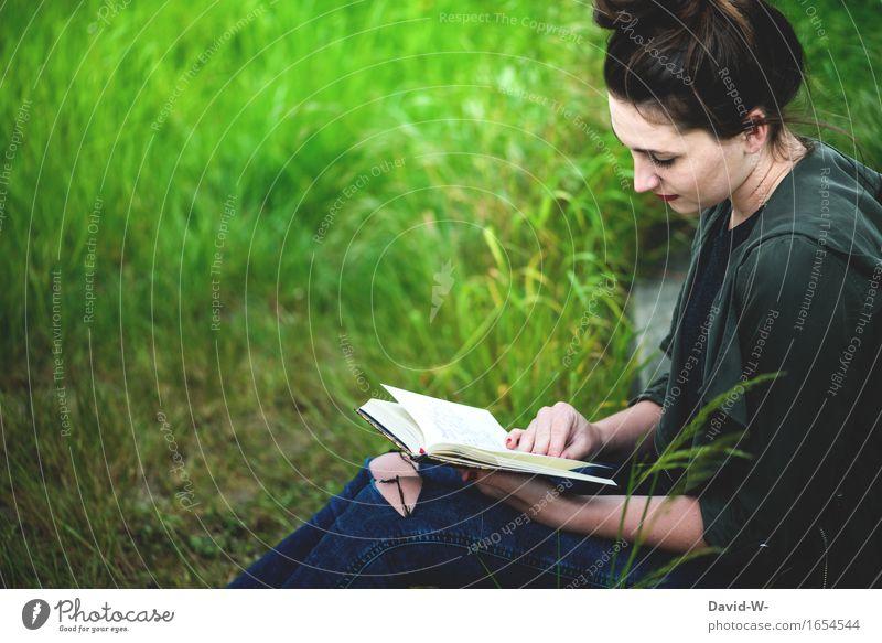 Buch Mensch Frau Natur Ferien & Urlaub & Reisen Jugendliche schön Sommer Junge Frau 18-30 Jahre Erwachsene Umwelt Leben feminin Freiheit Freizeit & Hobby lernen