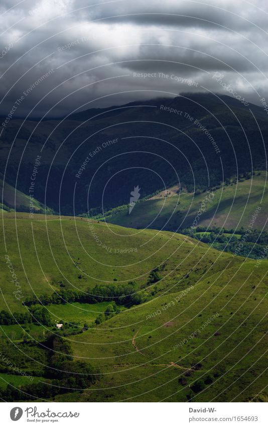 Gleich knallt's Natur grün Landschaft Wolken Ferne dunkel Berge u. Gebirge Umwelt Herbst Wiese Tourismus Wetter Nebel Luft Erde bedrohlich