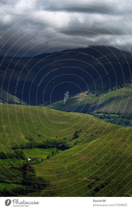 Gleich knallt's Umwelt Natur Landschaft Urelemente Erde Luft Wolken Gewitterwolken Herbst Klimawandel Wetter schlechtes Wetter Unwetter Sturm Nebel Wiese Hügel
