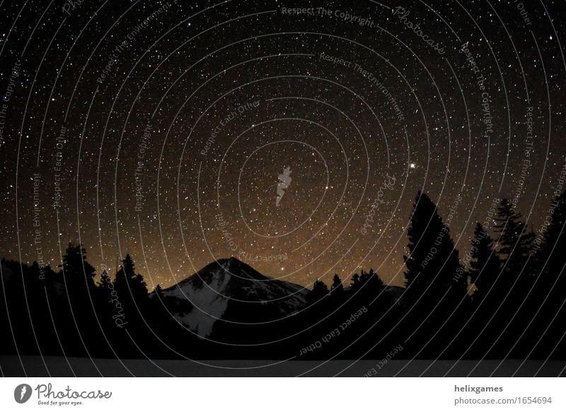 Sterne über einem Berg Natur Ferien & Urlaub & Reisen Landschaft Winter Berge u. Gebirge Umwelt Schnee Freiheit Tourismus wandern Abenteuer Ewigkeit Gipfel