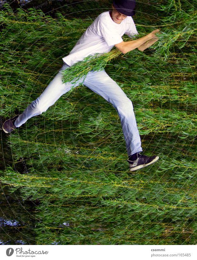 Jungle Walk Freude wandern Junger Mann Jugendliche Baum Blatt Weide Flugzeug Pilot Hut festhalten schaukeln frei Unendlichkeit grün Willensstärke Mut