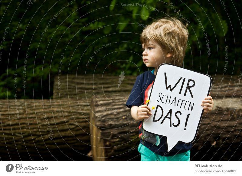 Wir schaffen das Mensch Kind Natur Baum Wald Umwelt Junge Arbeit & Erwerbstätigkeit maskulin Hilfsbereitschaft Zusammenhalt Mut Kleinkind nachhaltig Tatkraft Motivation