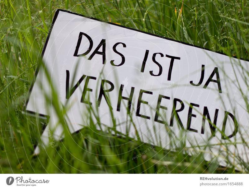 Das ist ja verheerend Umwelt Natur Gras Wiese Schriftzeichen Schilder & Markierungen Hinweisschild Warnschild grün Angst Entsetzen Todesangst gefährlich