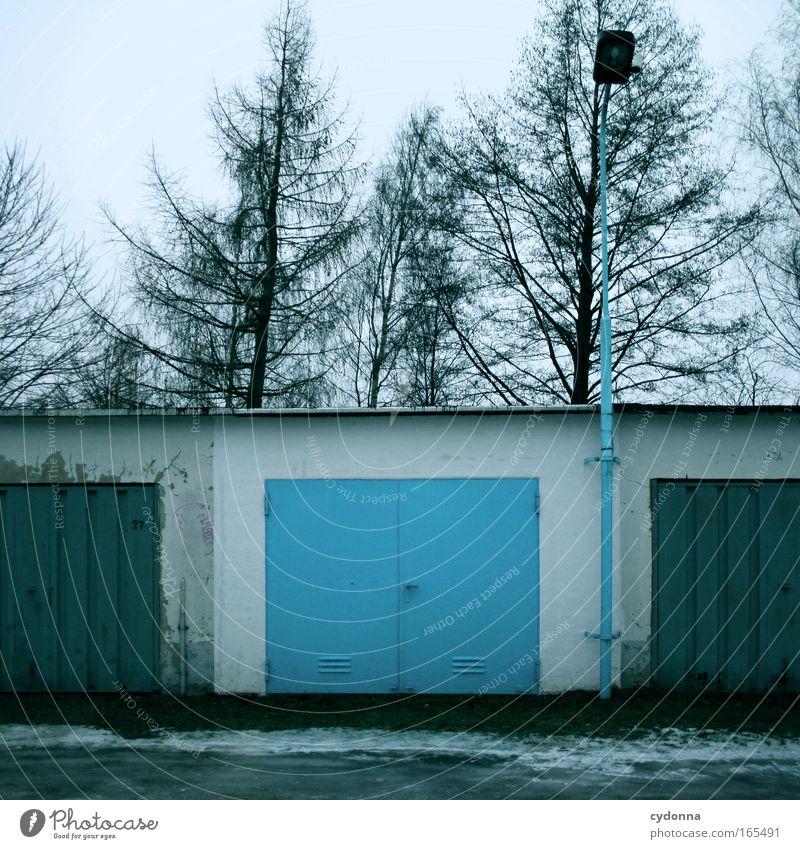 Blau machen Baum blau Winter Farbe Lampe Leben kalt Schnee träumen Traurigkeit Stimmung Design Zeit ästhetisch retro trist